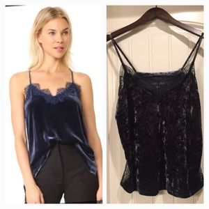 NEW Navy Crushed Velvet & Lace Cami